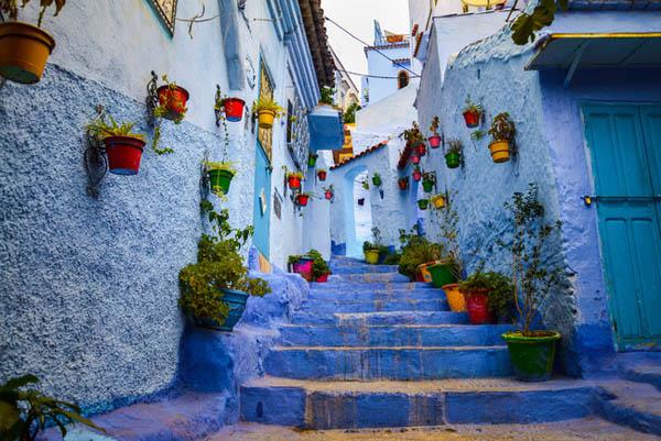 сините улици и куќи во Мароко
